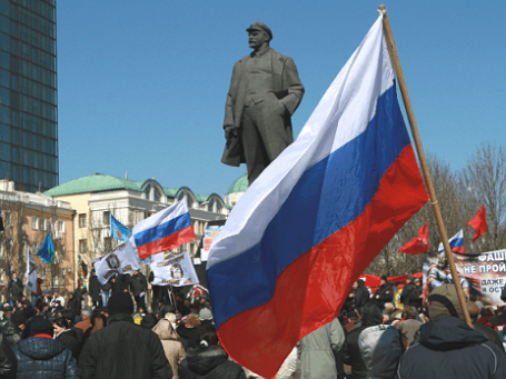Участники митинга в Донецке выступают с требованием провести референдум о статусе Донецкой области. Фото: РИА Новости.