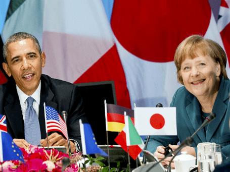 Президент США Барак Обама и канцлер Германии Ангела Меркель на заседании «Большой семерки» во время саммита по ядерной безопасности в Гааге