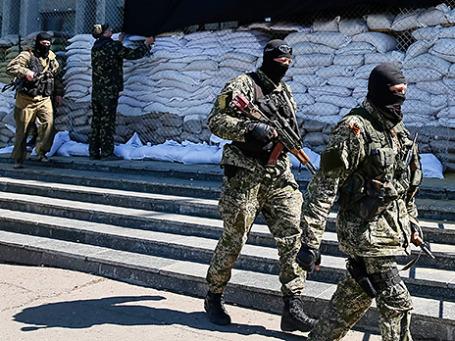 Пророссийски настроенные демонстранты в Славянске