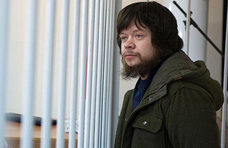 Активист «Левого фронта» Константин Лебедев во время рассмотрения вопроса об условно-досрочном освобождении в Лефортовском суде 24 апреля 2014
