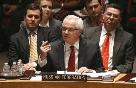 Постоянный представитель России при ООН Виталий Чуркин во время заседания Совета Безопасности по украинскому кризису, 19 марта 2014 года.