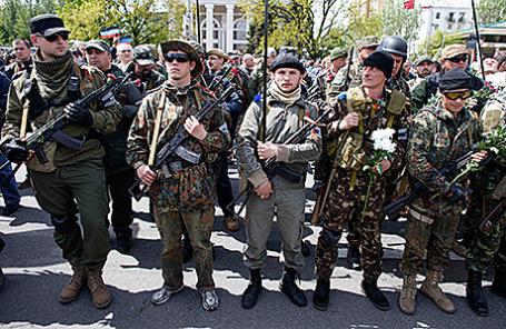 Пророссийские активисты в Донецке.