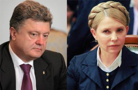Кандидаты в президенты Украины Петр Порошенко и Юлия Тимошенко.