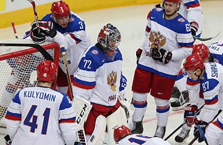 Игроки сборной России в матче чемпионата мира по хоккею-2014: Россия - Белоруссия, 20 мая 2014.
