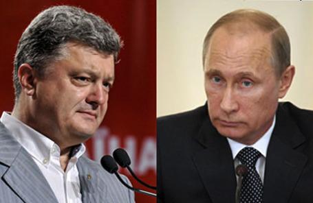 Избранный президент Украины Пётр Порошенко и президент России Владимир Путин.