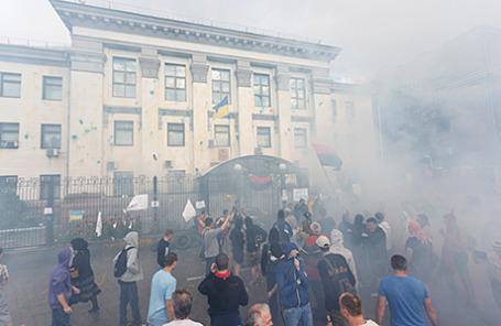 Акция протеста у посольства России в Киеве.