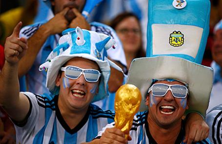 Болельщики сборной Аргентины по футболу на Чемпионате мира.