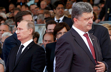 Избранный президент Украины Пётр Прошенко и президент России Владимир Путин.
