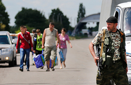Беженцы из Донбасса, прибывающие в Россию.
