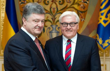 Президент Украины Петр Порошенко и министр иностранных дел ФРГ Франк-Вальтер Штайнмайер (слева направо).