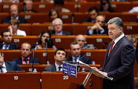 Президент Украины Пётр Порошенко на заседании Парламентской Ассамблеи Совета Европы 26 июня 2014.