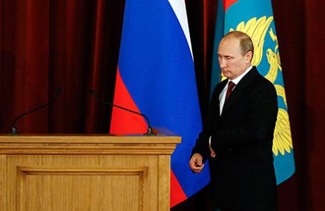 Президент РФ Владимир Путин во время совещания послов и постоянных представителей РФ в здании МИД РФ, Москва, 1 июля 2014.