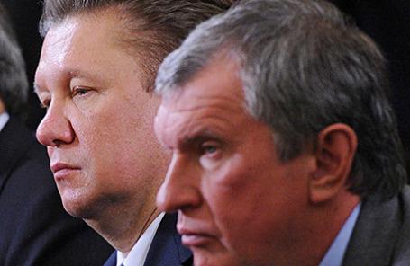 Председатель правления ОАО «Газпром» Алексей Миллер и глава «Роснефти» Игорь Сечин (слева направо).