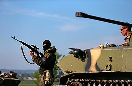 Блокпост украинской армии на участке трассы «Харьков - Ростов».