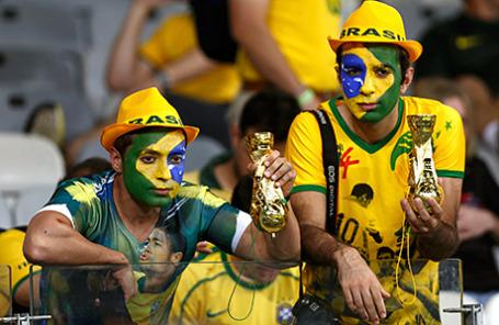 Болельщики сборной Бразилии по футболу.