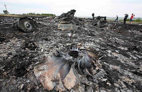 На месте крушения самолета Boeing 777 «Малайзийских авиалиний» в Донецкой области.