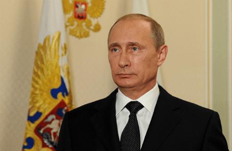 Президент России Владимир Путин во время обращения в Ново-Огарево.