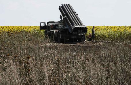 Ракетная пусковая установка недалеко от украинского города Северск.