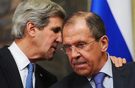 Министр иностранных дел РФ Сергей Лавров госсекретарь США Джон Керри.