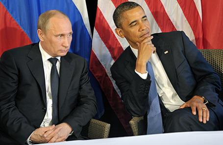 Президент России Владимир Путин и президент США Барак Обама (слева направо).