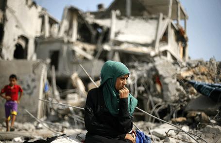 Последствия обстрела сектора Газа израильскими военными.