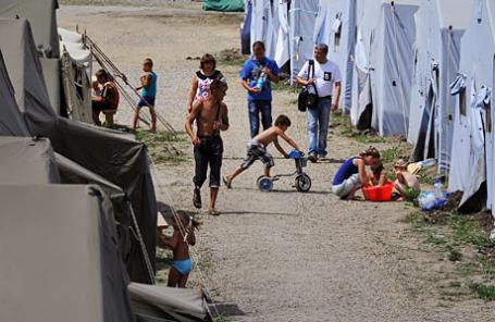 Лагерь для украинских беженцев в Ростовской области рядом с пунктом пропуска «Гуково».