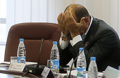 Президент Российской футбольной премьер-лиги (РФПЛ) Сергей Прядкин перед началом заседания РФС.
