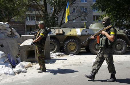 Украинские военнослужащие около Донецка.