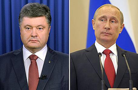 Президент Украины Петр Порошенко и президент России Владимир Путин (слева направо).