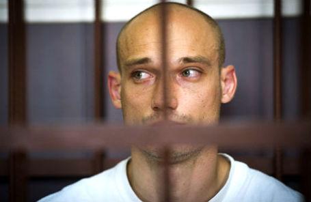 Один из задержанных по подозрению в проведении акции на высотке на Котельнической набережной Александр Погребов во время заседания суда.