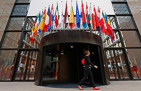Вход в здание Европейского Совета в Брюсселе.