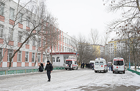 Здание школы №263 в Москве, где в феврале 2014 года старшеклассник Сергей Г. застрелил несколько человек.