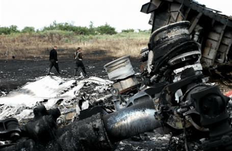На месте крушения Boeing 777 «Малайзийских авиалиний» в Донецкой области.