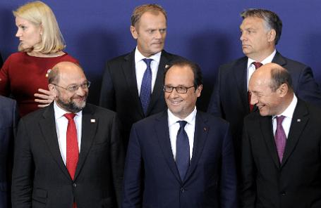 Европейские политики во время саммита ЕС в Брюсселе, 30 августа 2014 года.