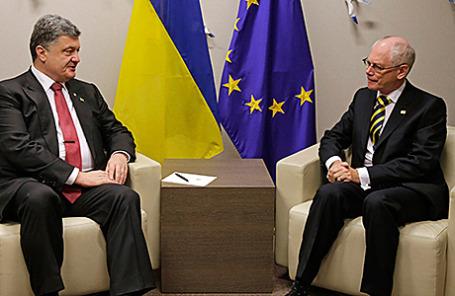 Президент Украины Петр Порошенко и Президент Европейского совета Герман Ван Ромпей (слева направо).