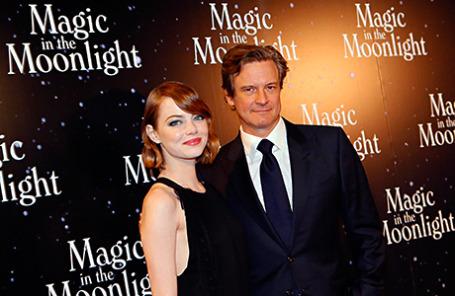 Актеры Колин Ферт и Эмма Стоун на премьере фильма «Магия лунного света» в Париже 11 сентября 2014.