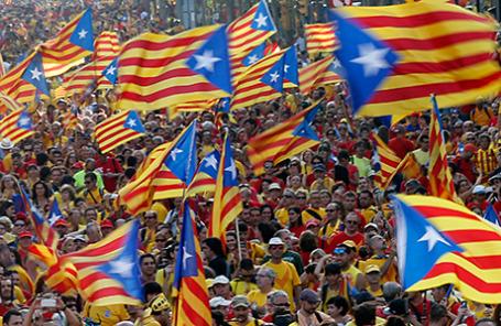 Митинг сторонников независимости Каталонии в Барселоне.