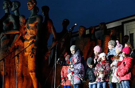 Участники акции «Донбасс: невинно убиенные» на Поклонной горе в Москве.