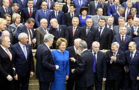 Во время заседания Совета Федерации РФ.