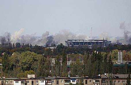 Дым над главным терминалом международного аэропорта «Донецк» имени С.С. Прокофьева, 30 сентября 2014.