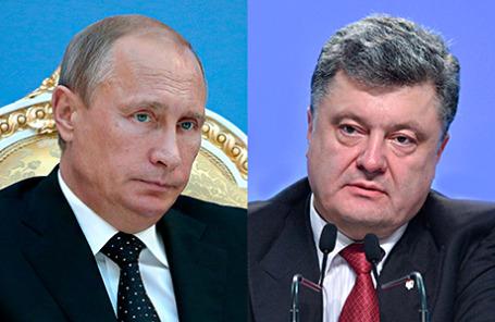 Президент РФ Владимир Путин и избранный президент Украины Пётр Порошенко.