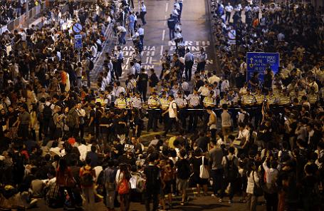 Демонстрация в округе Ваньчай, Гонконг.