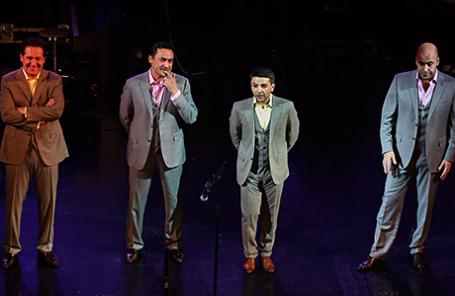Актеры театра «Квартет И» Александр Демидов, Камиль Ларин, Леонид (Алексей) Барац и Ростислав Хаит (слева направо).