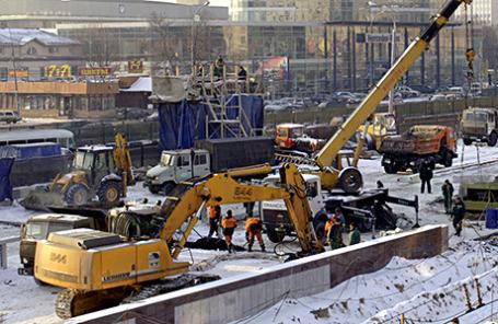 Во время ремонтных работ на одном из участков Ленинградского проспекта.