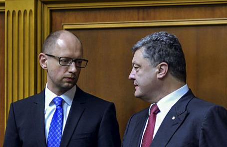 Премьер-министр Украины Арсений Яценюк и президент Украины Петр Порошенко (слева направо).