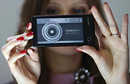 Во время презентации российского смартфона YotaPhone с двумя экранами.