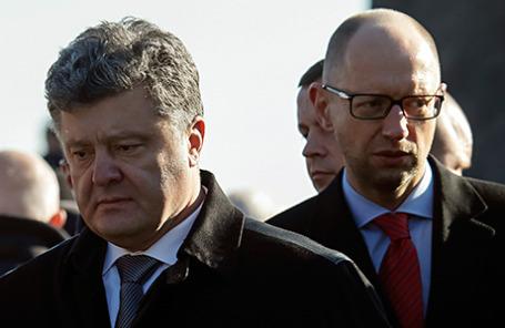 Президент Украины Петр Порошенко и премьер-министр Украины Арсений Яценюк (слева направо).