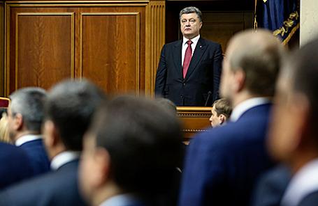 Президент Украины Петр Порошенко на заседании Верховной рады нового созыва. Киев, Украина, 27 ноября 2014.