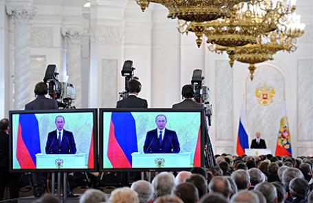 Президент России Владимир Путин во время выступления с ежегодным посланием Федеральному собранию РФ.