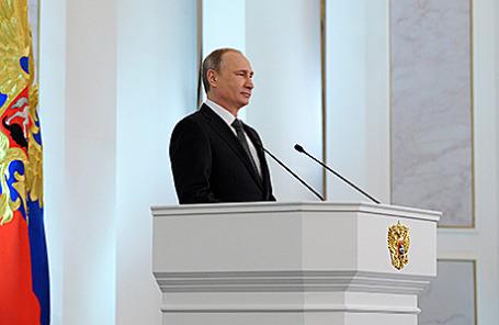 Президент России Владимир Путин во время выступления с ежегодным посланием к Федеральному собранию РФ, Москва, 4 декабря 2014.